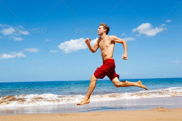 Runner on Beach - Stock Photo - Images
