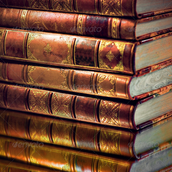 Heap of vintage books - Stock Photo - Images