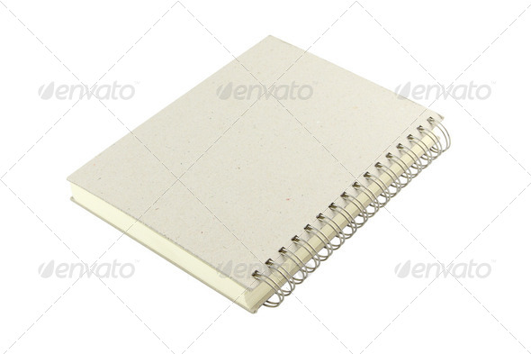 Grain cover ring bind note book on white background. - Stock Photo - Images