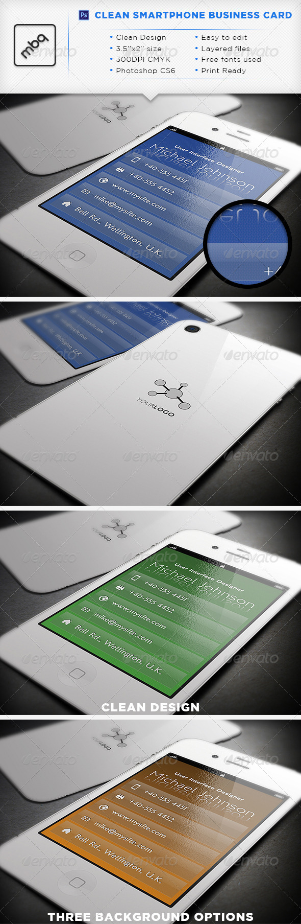 GraphicRiver Clean Smartphone Business Card 3319866