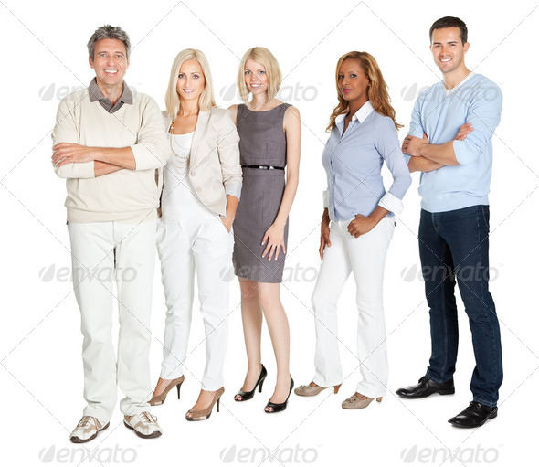 Business group standing confidently on white - Stock Photo - Images