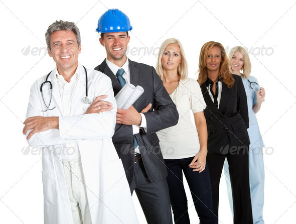 People illustrating different career options - Stock Photo - Images