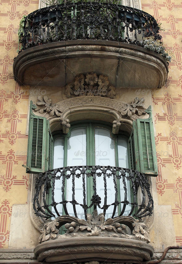 Heavily decorated balcony, Barcelona, Spain. - Stock Photo - Images