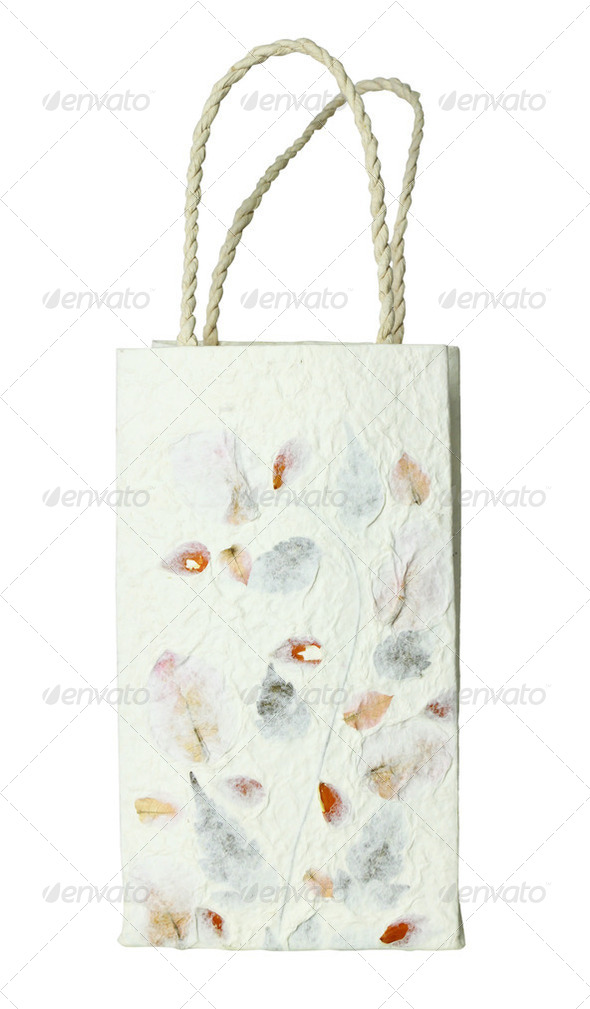 recycled paper craft  paper bag on white background - Stock Photo - Images