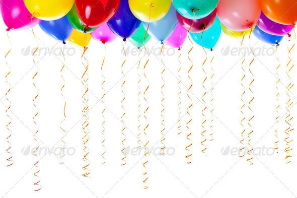 colourful balloons filled with helium and with golden streamers isolated on white - Stock Photo - Images