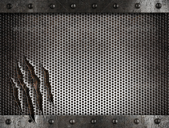 metal damaged grate background - Stock Photo - Images