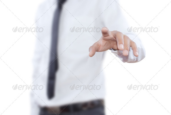 Businessman pushing on the whiteboard. - Stock Photo - Images