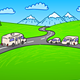 Towing Caravan on the Road - GraphicRiver Item for Sale