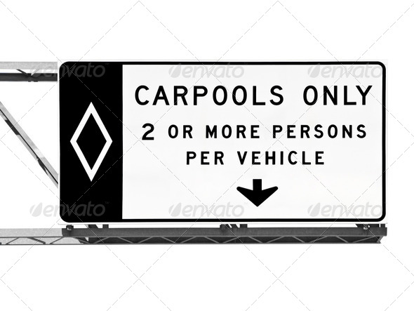 Overhead Freeway Carpool Only Sign Isolated - Stock Photo - Images
