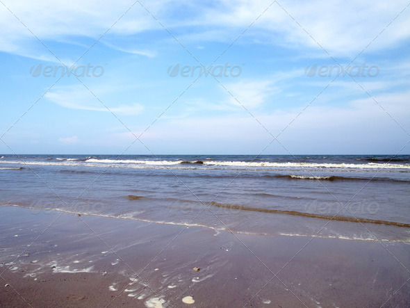 beach and cloudy sky - Stock Photo - Images