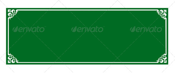 the blank green board and Thai style border - Stock Photo - Images