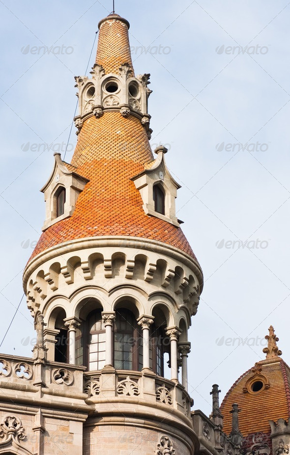 Tower in Paseo de Gracia, Barcelona,  Spain - Stock Photo - Images