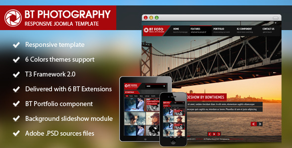 BT Photography Joomla Template - Joomla CMS Themes