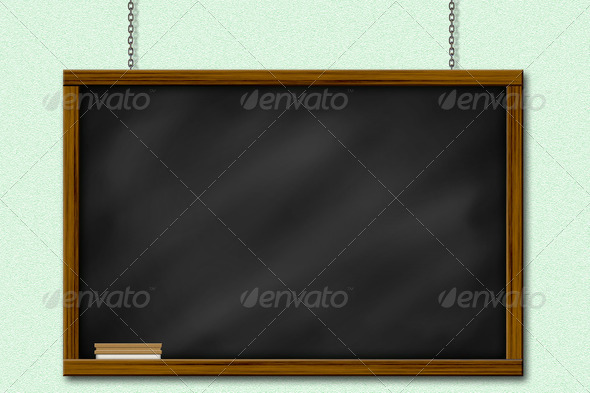 Chalkboard blackboard with frame and brush hang on green wall by chain - Stock Photo - Images
