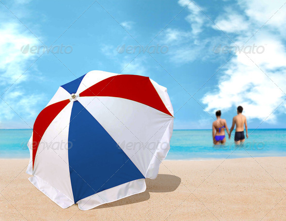 Umbrella on the beach - Stock Photo - Images