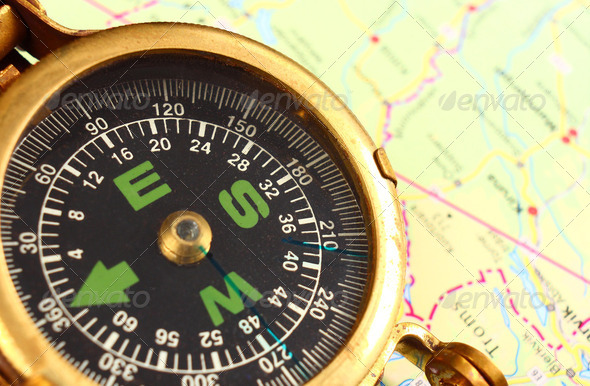 Compass and map - Stock Photo - Images