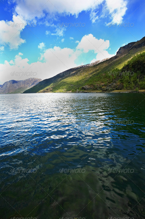 Sea with fjords - Stock Photo - Images