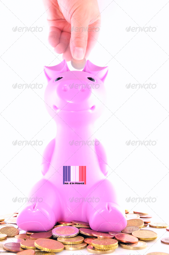 Piggy bank France. - Stock Photo - Images