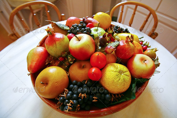 Fruit basket on the table - Stock Photo - Images