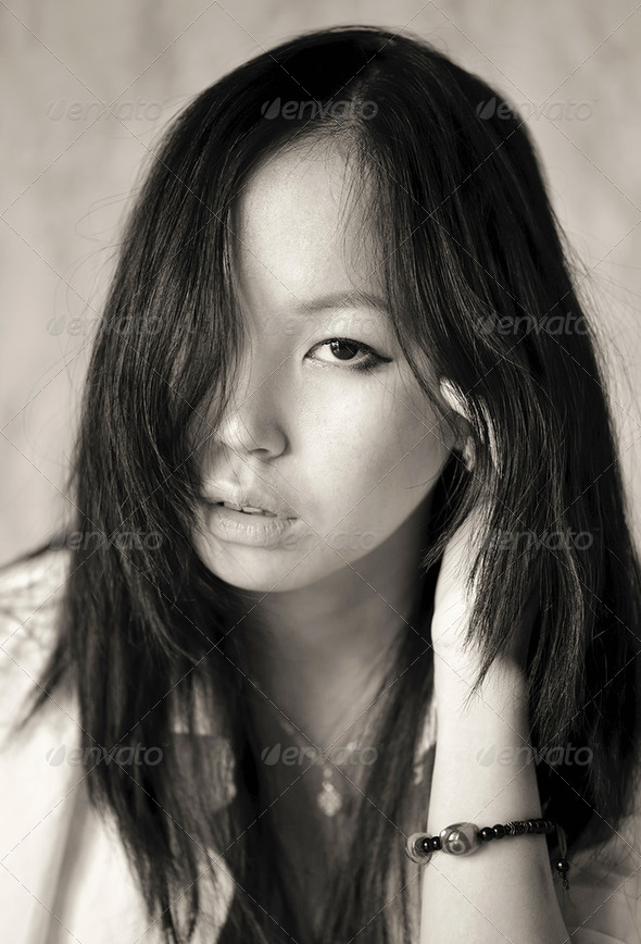 Portrait of asian girl close up - Stock Photo - Images