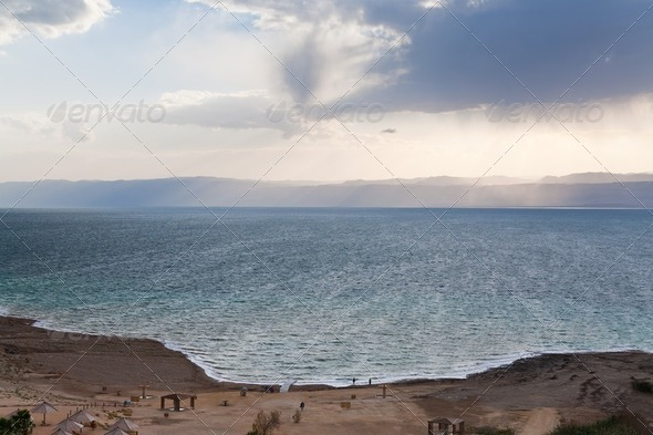 sand beach on Dead Sea coast in Jordan - Stock Photo - Images