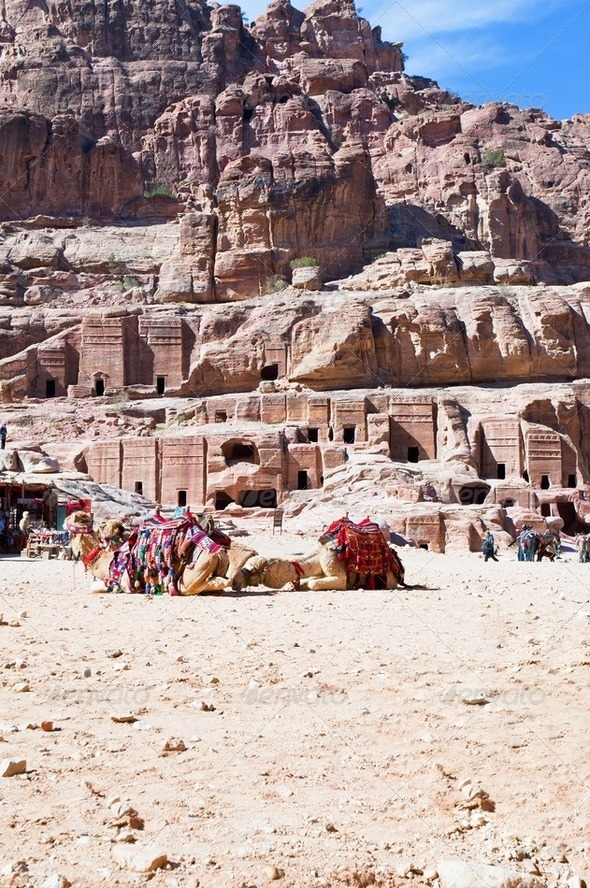bedouin camp on  Street of Facades, Petra, Jordan - Stock Photo - Images