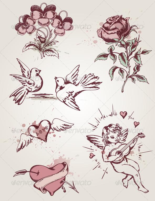 GraphicRiver Retro Elements for Valentine s Day 3342895