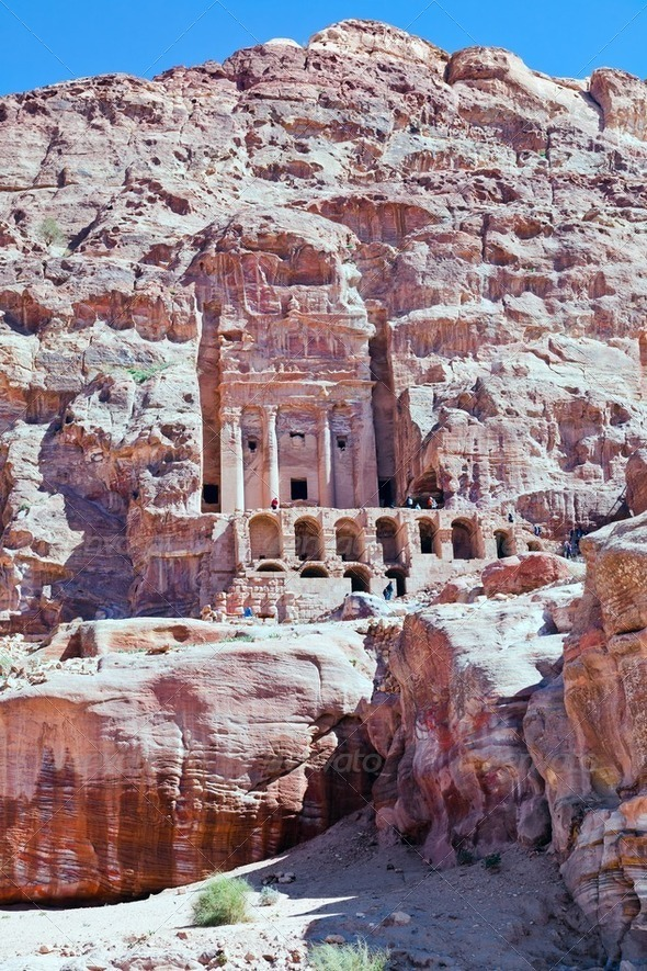 front view on Urn Tomb Cathedral  in Petra - Stock Photo - Images