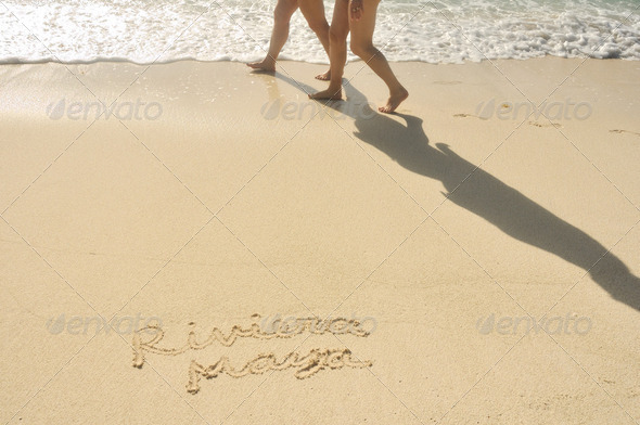 Riviera Maya Written in Sand on Beach - Stock Photo - Images