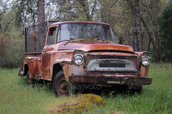 old ruty abandoned pickup truck - Stock Photo - Images