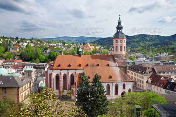 Panoramic view of Baden-Baden. Europe, Germany - Stock Photo - Images