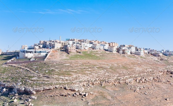 town Kerak on stone hill, Jordan - Stock Photo - Images