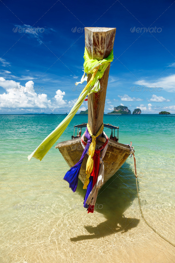 Long tail boat on beach, Thailand - Stock Photo - Images