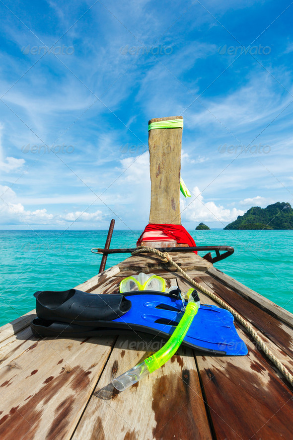 Snorkeling set on boat - Stock Photo - Images