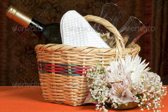 basket with bottles and glasses - Stock Photo - Images