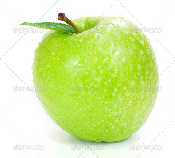 fresh green apple isolated on white - Stock Photo - Images