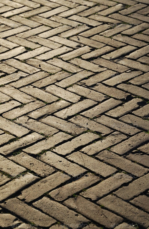 Herringbone pattern of block pavement. - Stock Photo - Images