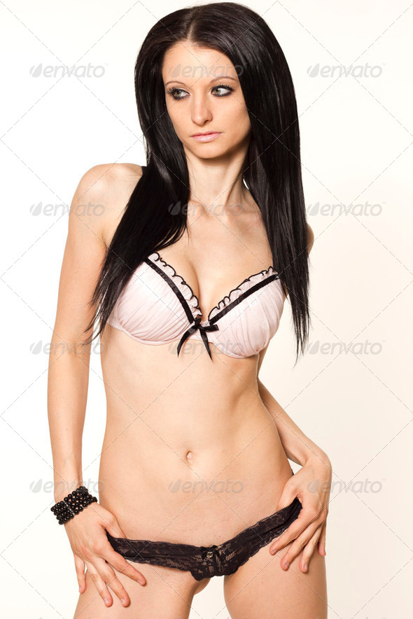 Sexy lingerie woman with black hair in elegant bra and panties on white isolated background  - Stock Photo - Images