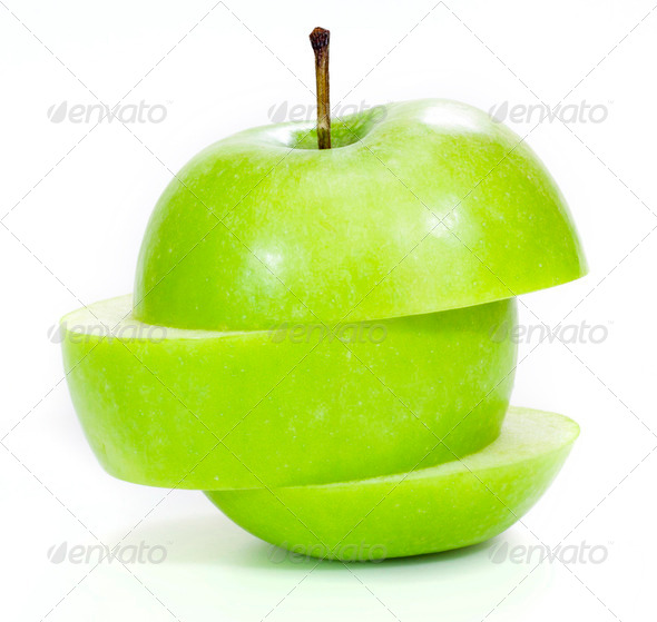 green apple isolated on white - Stock Photo - Images