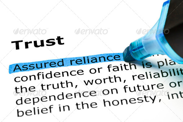 Trust with blue marker - Stock Photo - Images