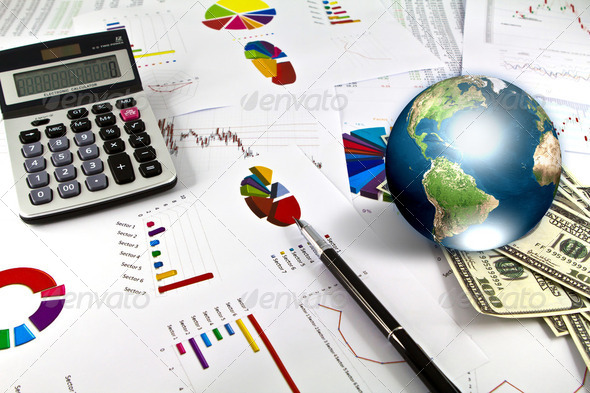 Pen and business graph with earth (Elements of this image furnis - Stock Photo - Images
