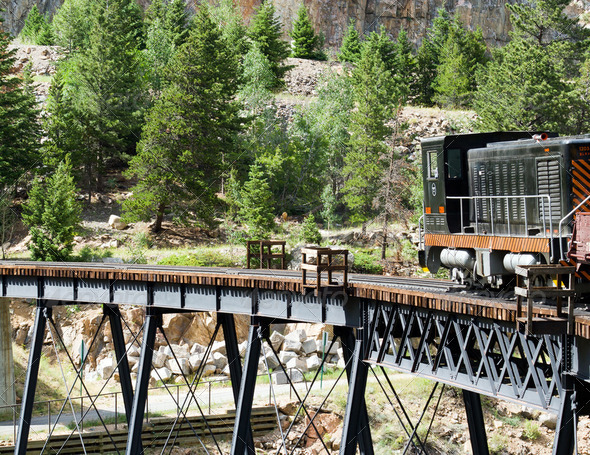 Steam Train Crossing a Bridge in the Colorado Rocky Mountains - Stock Photo - Images