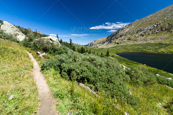 Trail Through Mountain Lake Landscape - Stock Photo - Images