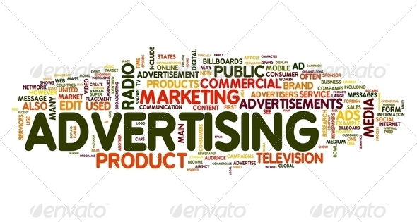 Advertising word in tag cloud - Stock Photo - Images