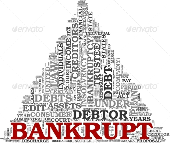 Bankrupt concept in word tag cloud - Stock Photo - Images