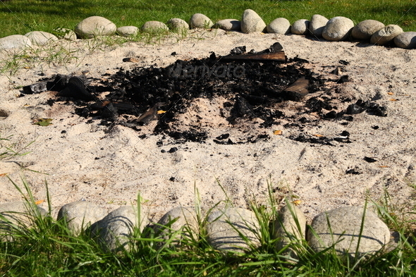 Ring of stones around campfire - Stock Photo - Images