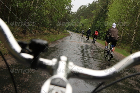 Riding bicycle in a forest - Stock Photo - Images