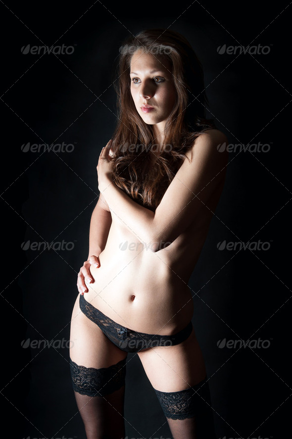 Portrait of a beautiful woman in sexy underwear - Stock Photo - Images