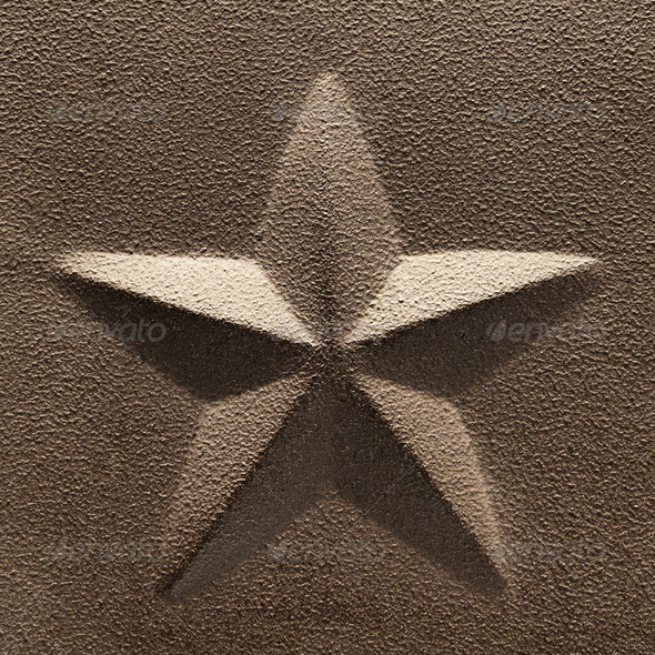Rustic Five Point Star Embossed Steel Decoration - Stock Photo - Images