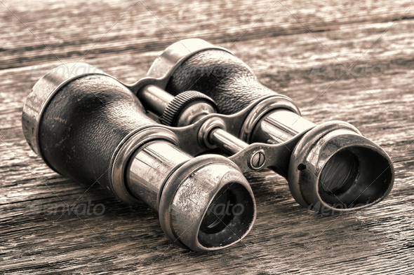 Old Vintage Binoculars on Antique Aged Wood Board - Stock Photo - Images